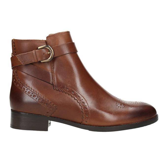Kožená kotníčková obuv se zdobením clarks, hnědá, 616-3026 - 26