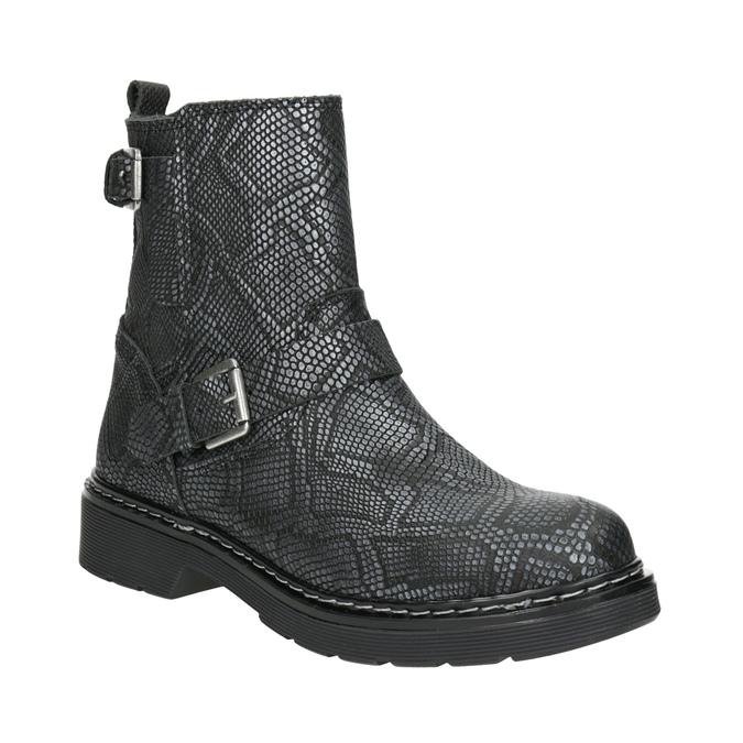 Kožená kotníčková obuv dětská bullboxer, černá, modrá, 496-9015 - 13