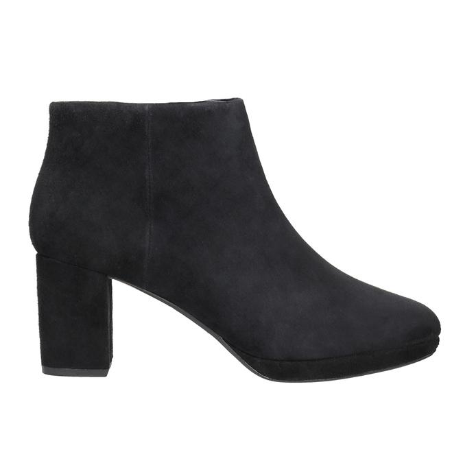 Kožená kotníčková obuv na podpatku clarks, černá, 713-6035 - 26