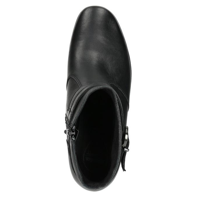 Kožená kotníčková obuv s přezkou comfit, černá, 696-4622 - 26