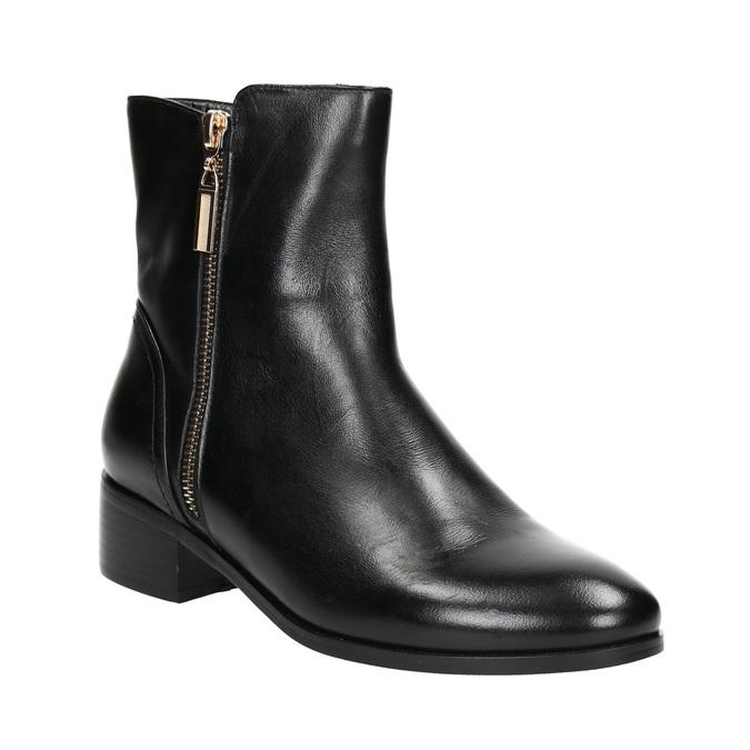 Kožená kotníčková obuv se zlatými zipy bata, černá, 594-6654 - 13