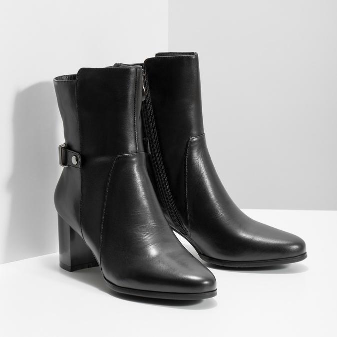 Kožené kotníčkové kozačky na podpatku bata, černá, 696-6648 - 26