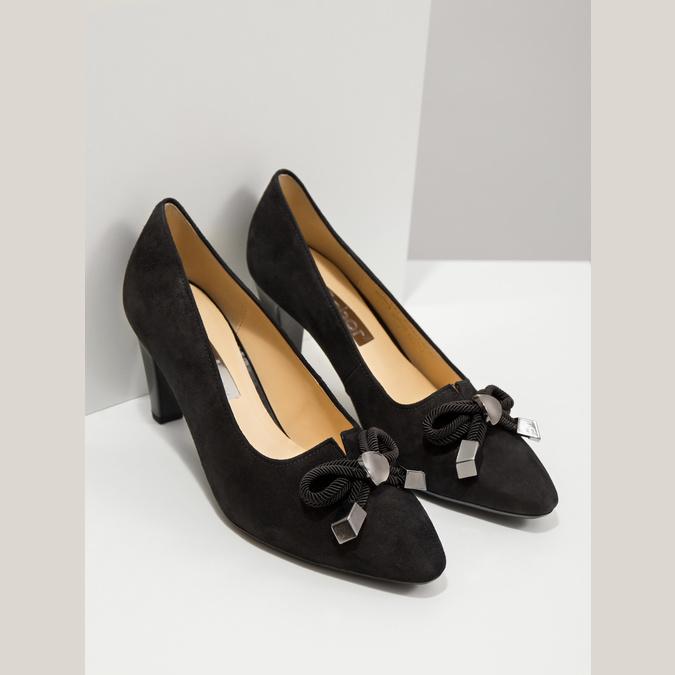 Černé lodičky z broušené kůže gabor, černá, 723-6024 - 19