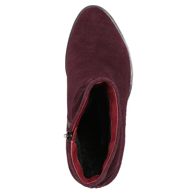 Vínové kožené kozačky bata, červená, 693-5602 - 26