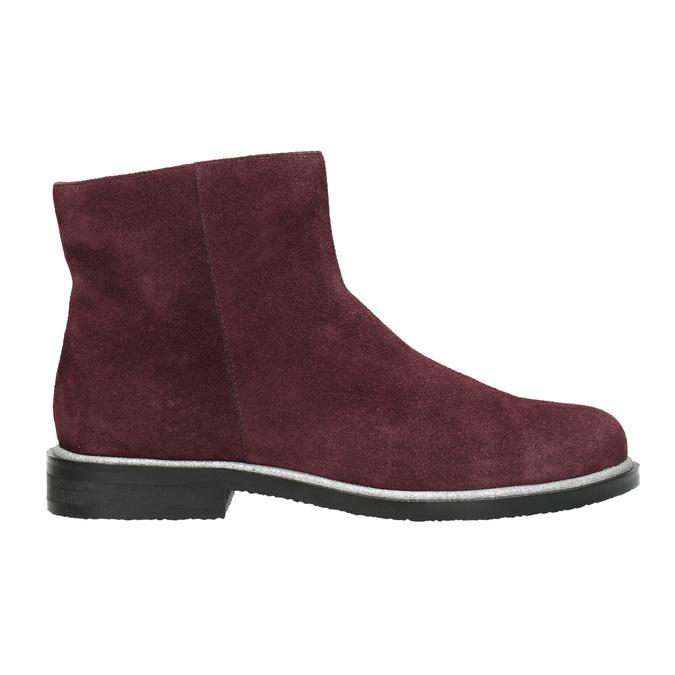 Kotníčková obuv z broušené kůže bata, červená, 593-5603 - 15
