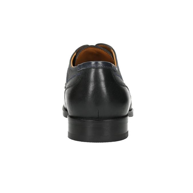 Kožené polobotky s modrým prošitím bata, černá, 826-6915 - 17