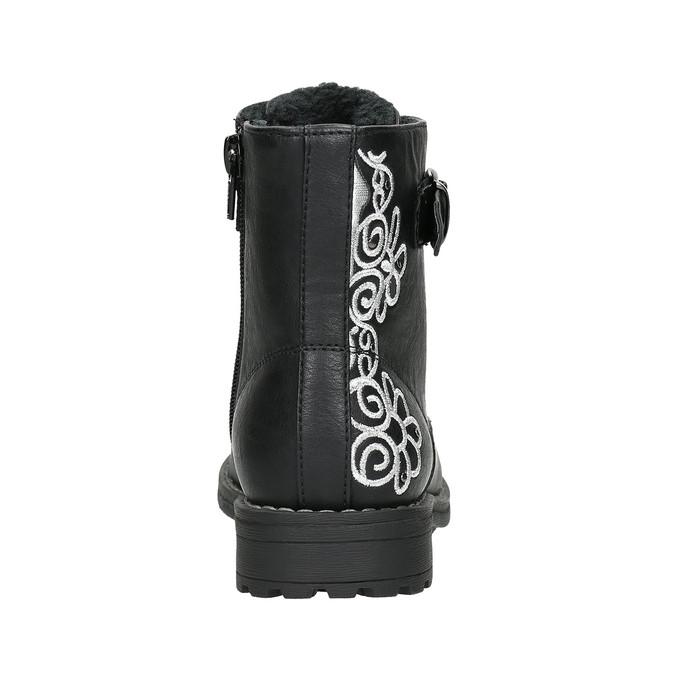 Kotníčková dětská obuv s výšivkou mini-b, černá, 391-6654 - 17