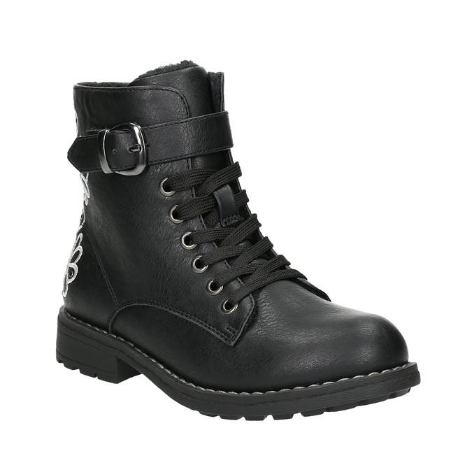 Kotníčková dětská obuv s výšivkou mini-b, černá, 391-6654 - 13