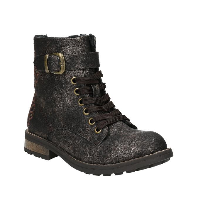 Dětská zimní obuv s výšivkou mini-b, hnědá, 391-8654 - 13