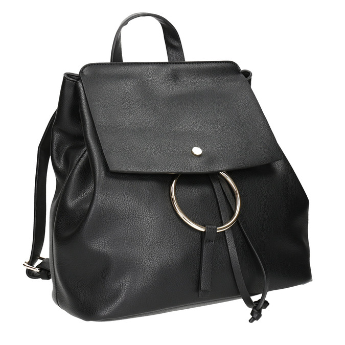 Dámský městský batoh se zlatými detaily bata, černá, 961-6166 - 13