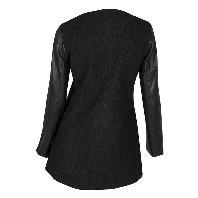 Dámský kabát s koženkovými rukávy bata, černá, 979-6153 - 26
