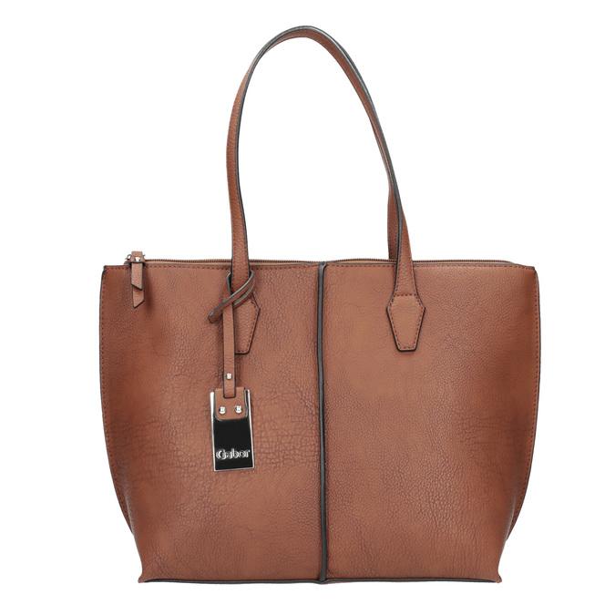 Hnědá dámská kabelka s prošitím gabor-bags, hnědá, 961-3059 - 26