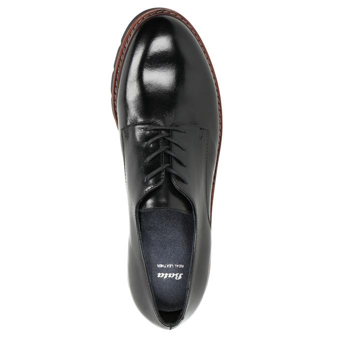 Kožené polobotky na výrazné podešvi bata, černá, 526-6642 - 26