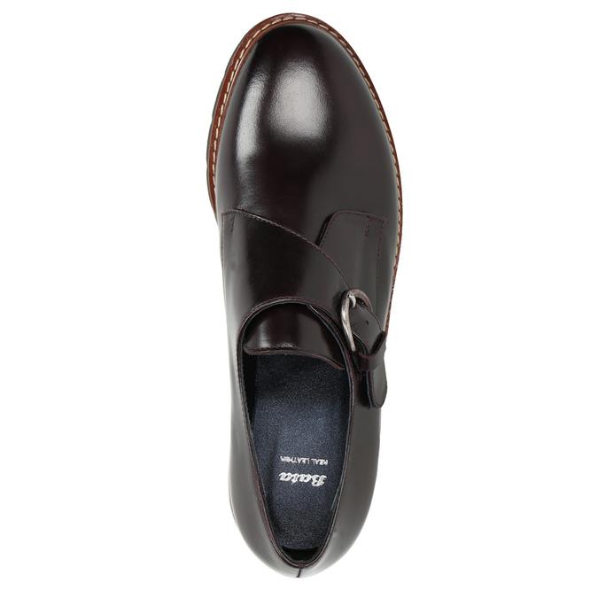 Dámské kožené Monk Shoes bata, červená, 516-5611 - 26