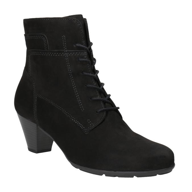 Kožená kotníčková obuv šněrovací gabor, černá, 726-6120 - 13