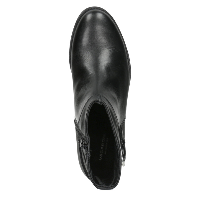 Dámské kožené kozačky s přezkou vagabond, černá, 614-6028 - 15