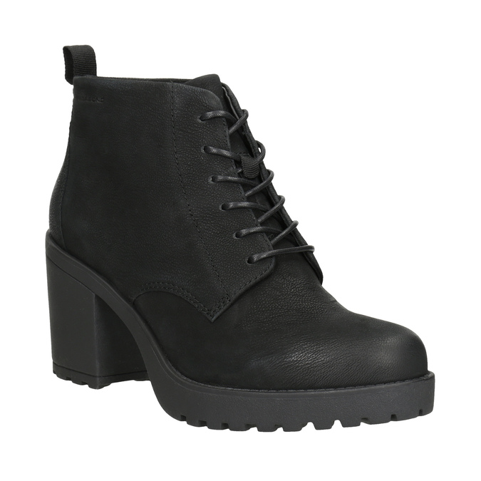 Kotníčková dámská obuv na podpatku vagabond, černá, 726-6016 - 13