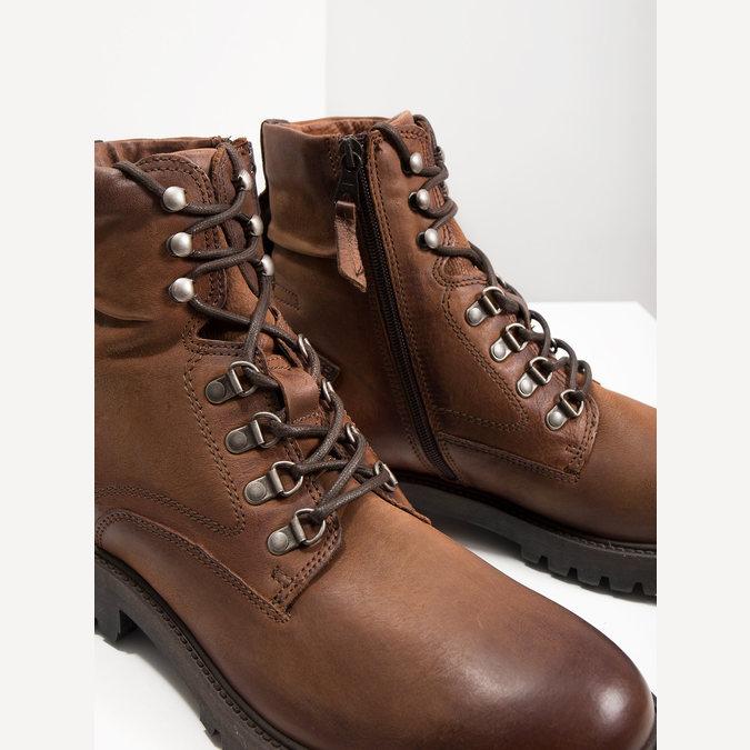 Kožená kotníčková obuv bata, hnědá, 896-3663 - 14