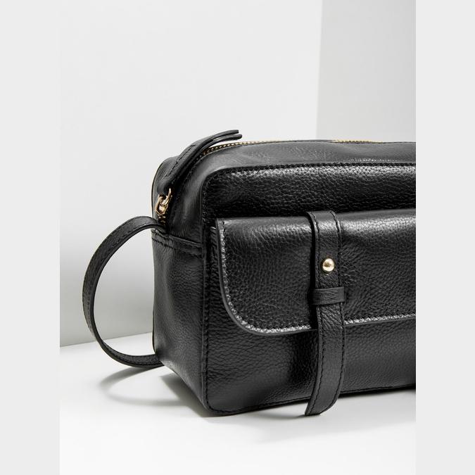 Kožená černá Crossbody bata, černá, 964-6282 - 14