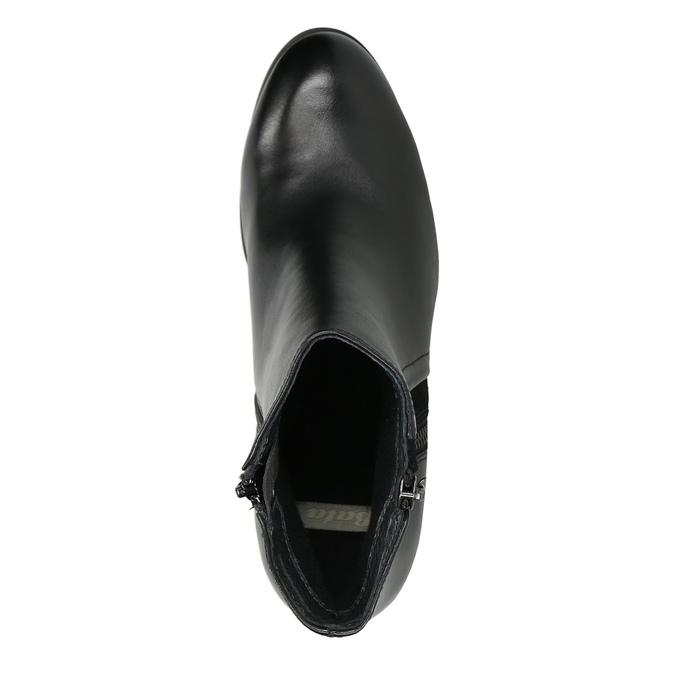 Kožené kotníčkové boty na podpatku bata, černá, 794-6642 - 26