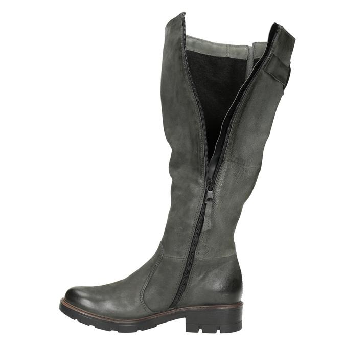 Kožené kozačky s masivní podešví bata, šedá, 596-9662 - 15