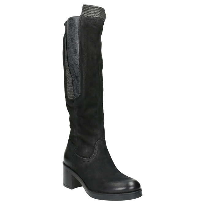 Kožené kozačky na stabilním podpatku bata, černá, 696-6647 - 13
