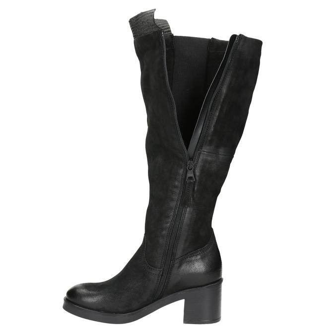 Kožené kozačky na stabilním podpatku bata, černá, 696-6647 - 15