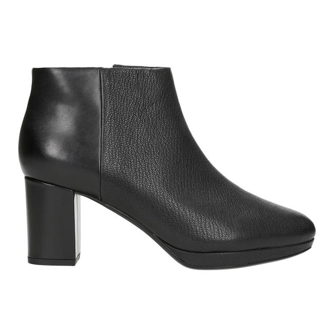 Kožené kotníčkové boty na podpatku clarks, černá, 714-6036 - 26