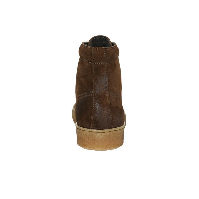 Hnědá kožená kotníčková obuv bata, hnědá, 843-3632 - 17