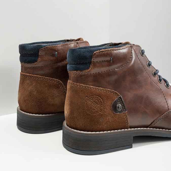 Pánská kožená kotníková obuv bata, hnědá, 826-3611 - 14