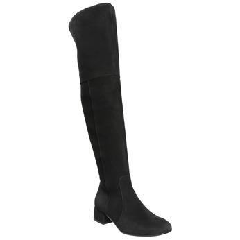 Dámské kožené kozačky nad kolena bata, černá, 693-6604 - 13