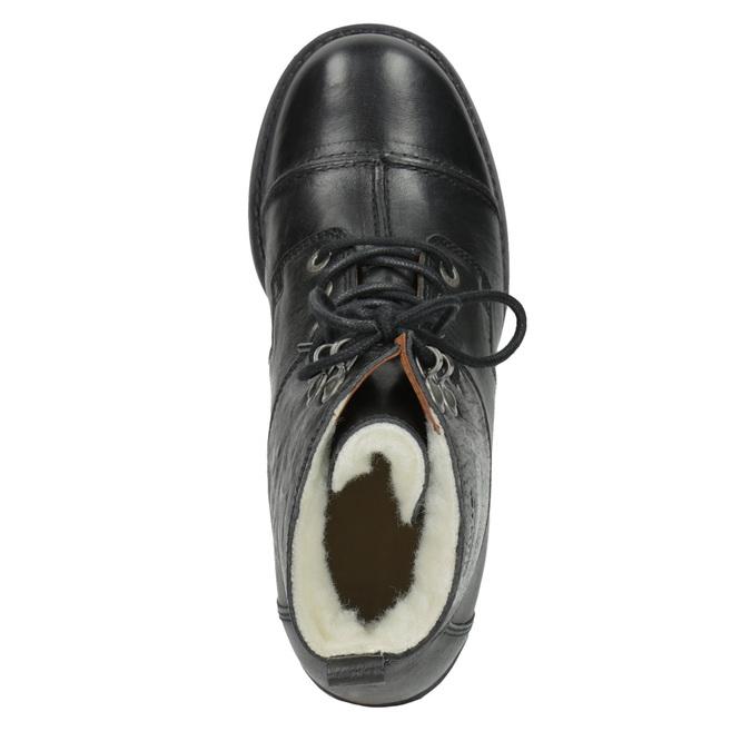 Kožená šněrovací obuv nad kotníky ten-points, černá, 626-6037 - 15