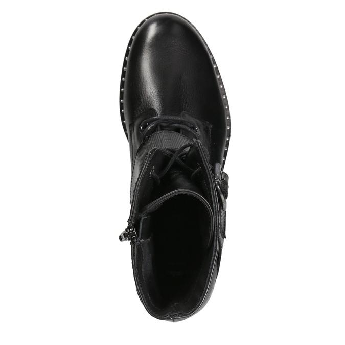 Dámské kožené kozačky s přezkou bata, černá, 596-6681 - 15
