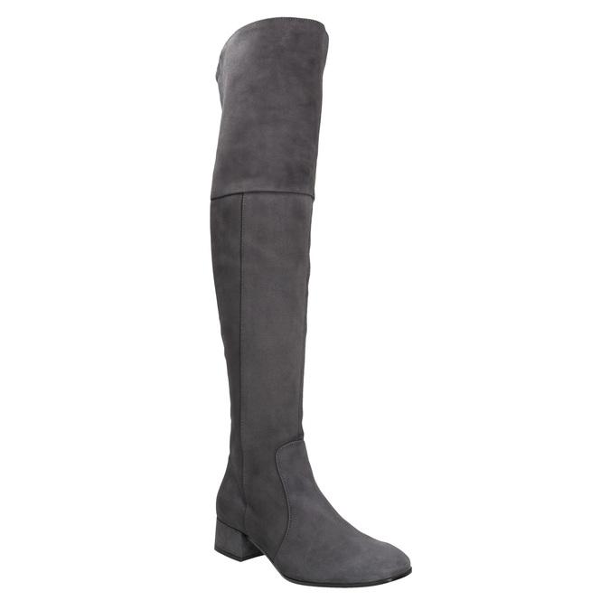 Kožené dámské kozačky nad kolena bata, šedá, 693-2604 - 13