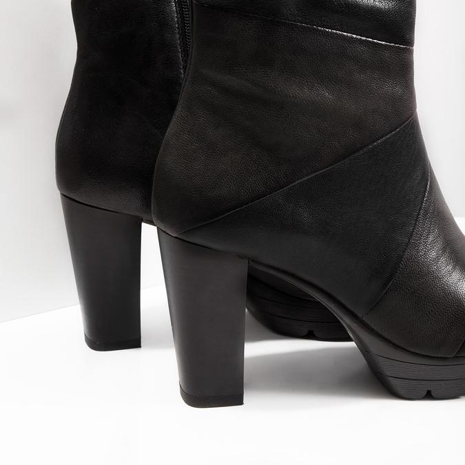 Kožená kotníčková obuv na podpatku bata, šedá, 796-2650 - 14