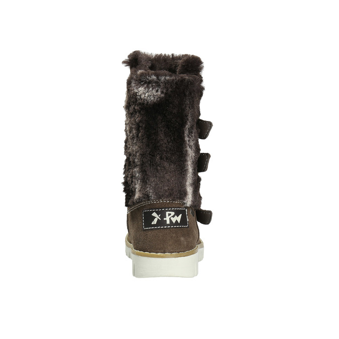 Kožené dívčí kozačky s kožíškem mini-b, hnědá, 393-4606 - 17