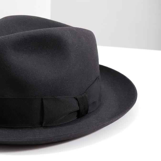 Černý pánský klobouk tonak, šedá, 909-2646 - 14
