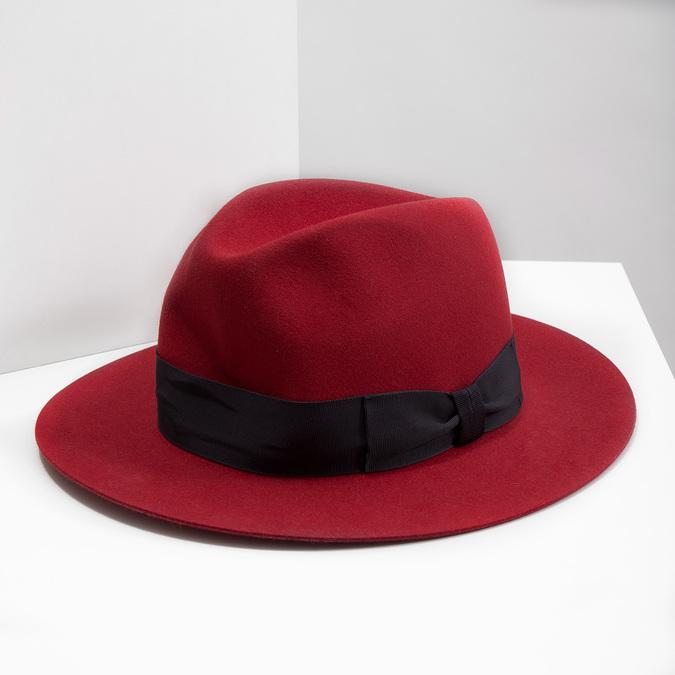 Červený klobouk z králičí srsti tonak, červená, 909-5649 - 18