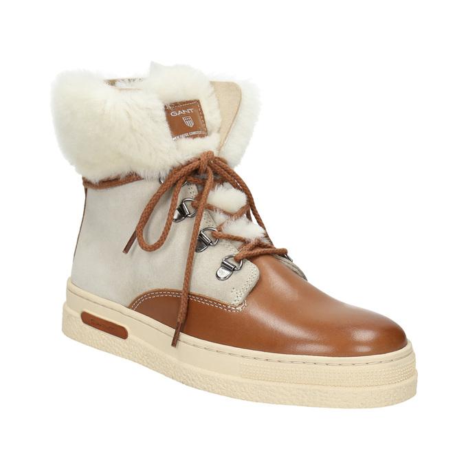 Dámská zimní obuv s kožíškem gant, béžová, 526-8051 - 13