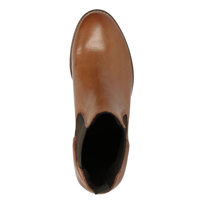 Kožená kotníčková obuv  v Chelsea stylu ten-points, hnědá, 716-3046 - 15