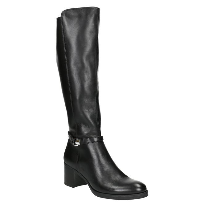 Kožené dámské kozačky na stabilním podpatku bata, černá, 694-6637 - 13