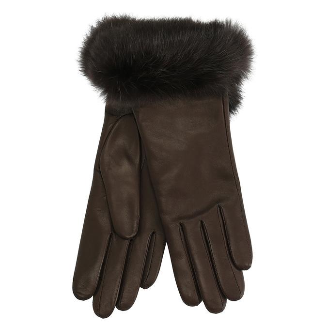 Dámské kožené rukavice s kožíškem junek, hnědá, 924-4050 - 13