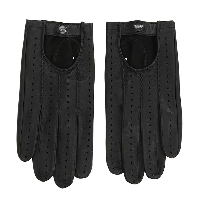 Kožené rukavice s perforací junek, černá, 904-6001 - 26