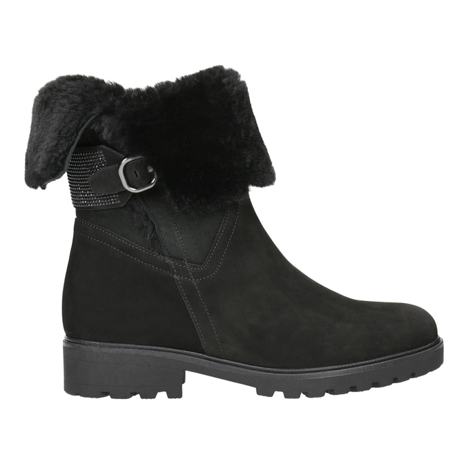 Kožená kotníčková obuv s kožíškem gabor, černá, 616-6009 - 26