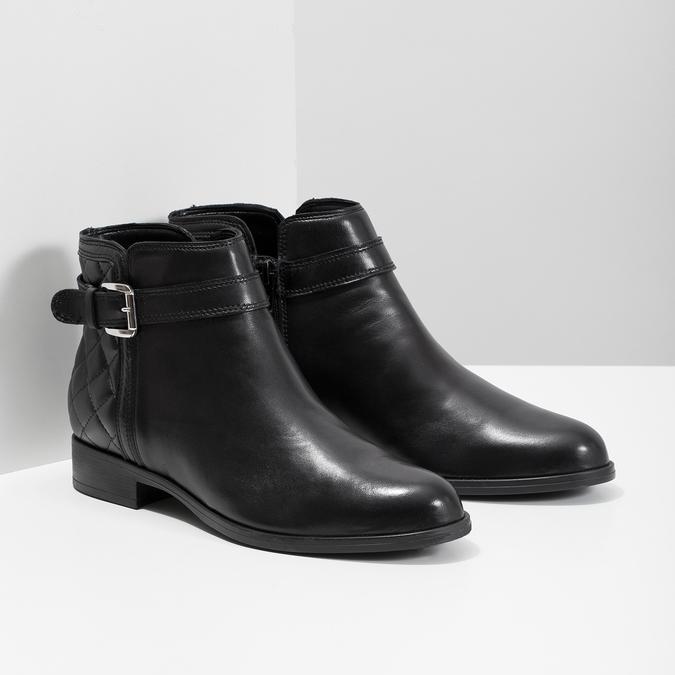Kožená kotníčková obuv s přezkou bata, černá, 594-6662 - 26