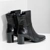 Kožené kotníčkové kozačky na podpatku bata, černá, 696-6648 - 16