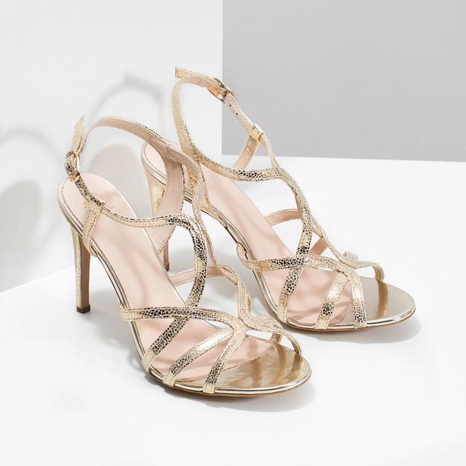 Zlaté společenské sandály z kůže bata, 726-8648 - 26