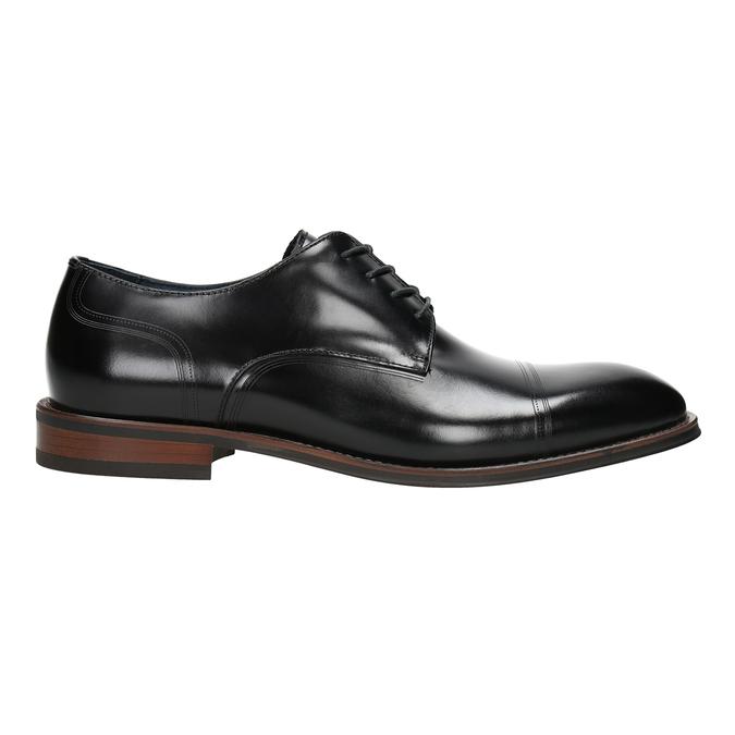Černé kožené Derby polobotky bata, černá, 826-6681 - 26