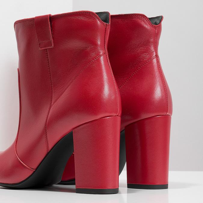 Červené kotníčkové kozačky z kůže bata, červená, 794-5652 - 18