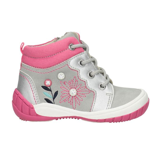 Kotníčková dětská obuv s výšivkou bubblegummers, šedá, 121-2619 - 26